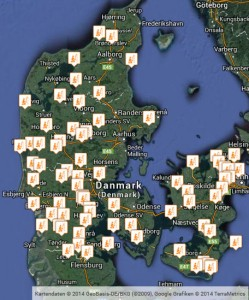 Karte über Forellenteiche in Dänemark